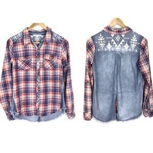 Miss Me Top Shirt Chambray Plaid Size S